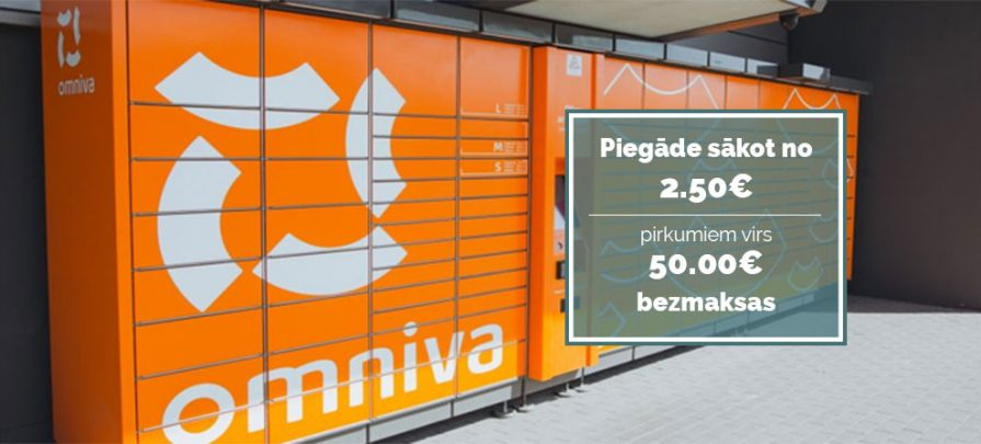 Piegāde sākot no 2.50€! Bezmaksas piegāde pirkumiem virs 50€ ar Omniva.